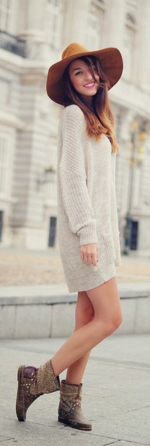 Sweater oversized dress and boho booties for fall.