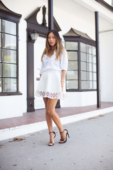 White Shirt and White Cut-Out Skirt // white on white lookin' good #songofstyle