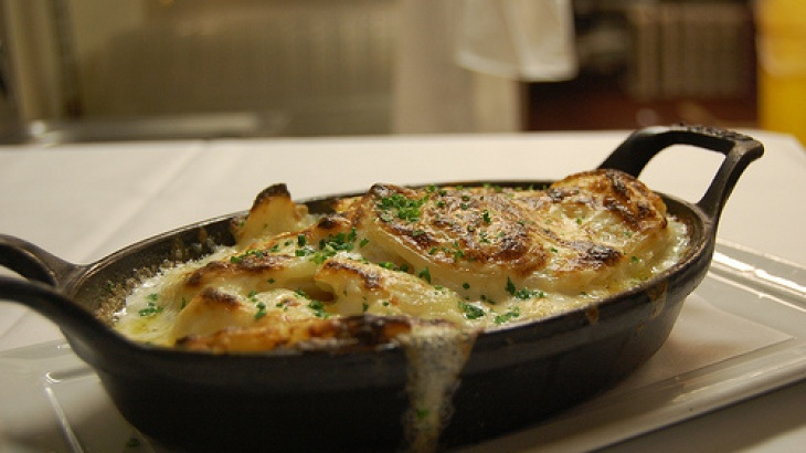 Scalloped Yukon Gold and Sweet Potato Gratin with Fresh Herbs