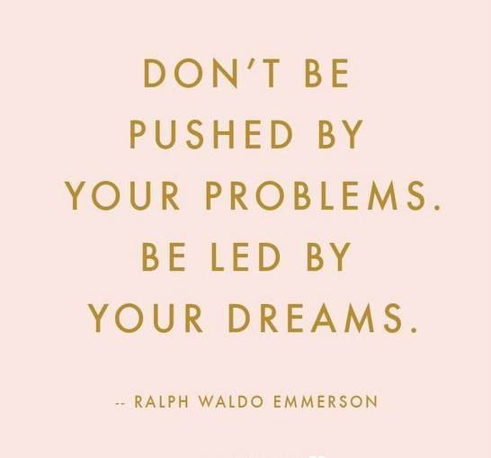 Don't be pushed by your problems..be led by your dreams..