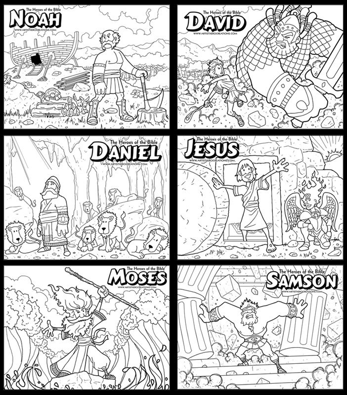 Free Coloring Pages Of The Heroes Of The Bible