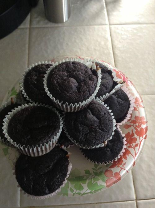 95 Cal Triple Chocolate Chunk Muffins | nom nom nom | Pinterest
