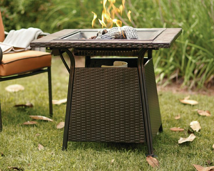 uniflame bronze faux wicker gas fire pit with ceramic tile