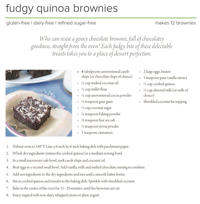Fudgy Quinoa Brownies from my the new eBook Baking with Quinoa - enter ...