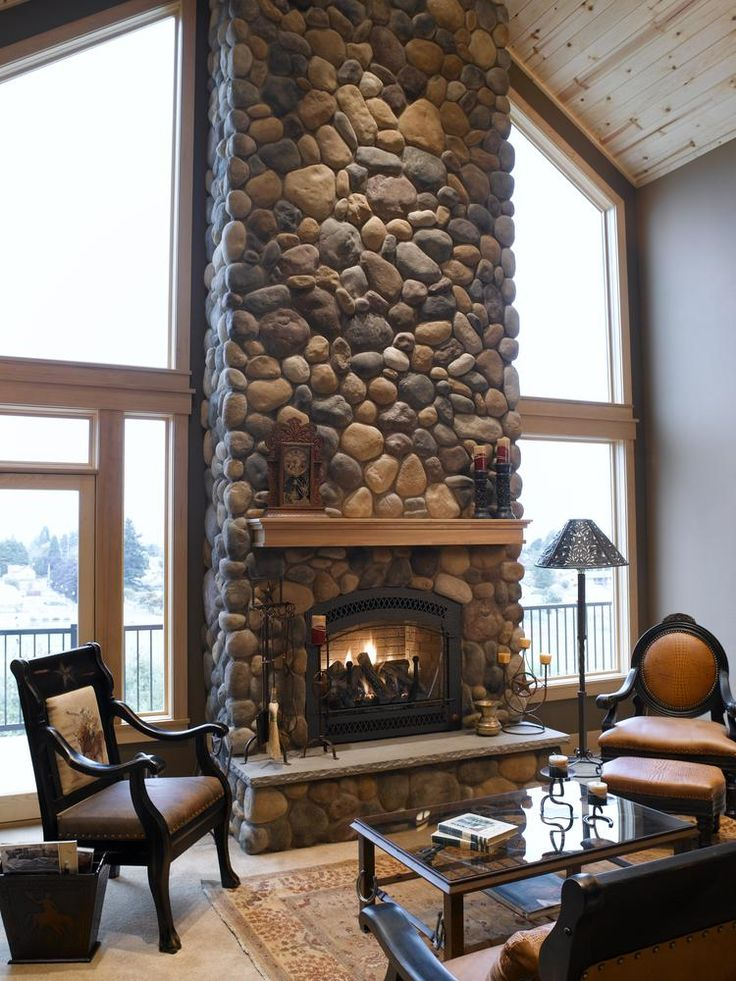 river rock fireplace mi casa pinterest