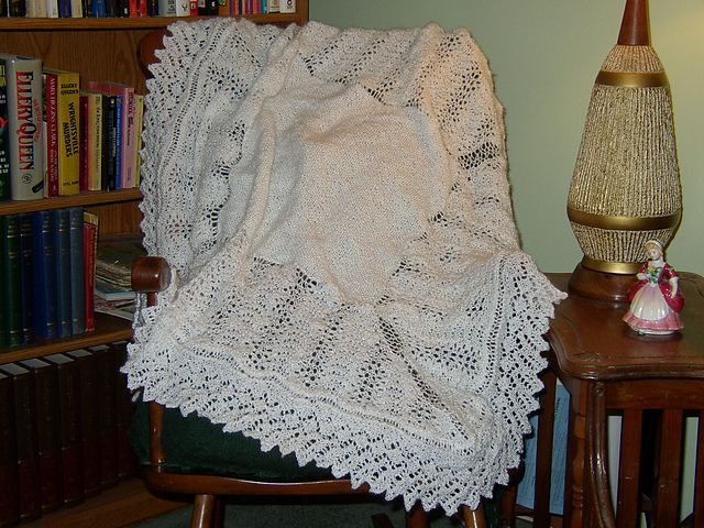 Knitting Patterns For Christening Shawls : Shetland Lace Christening Shawl pattern by Margaret Jones