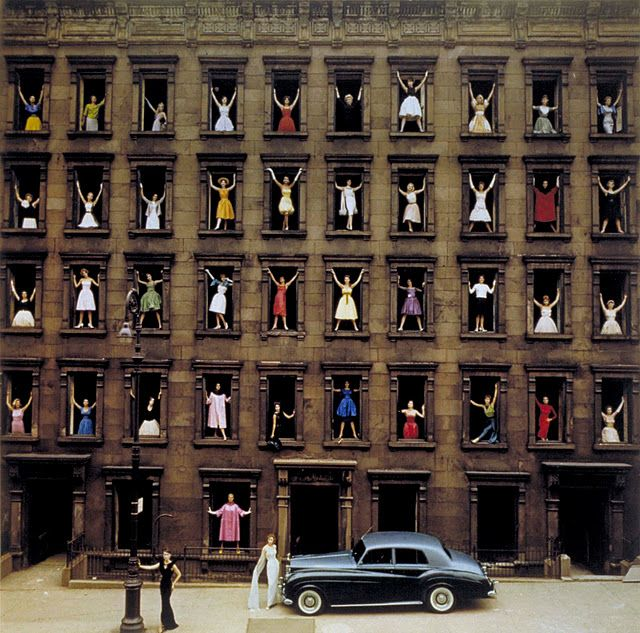 Girls in the Window by Ormond Gigli,1960: The day before this brownstone on East 58th was razed, Gigli posed 43 women in formal dress in the windows, some daring to step out onto the crumbling sills while Gigli directed with a bullhorn and a Rolls Royce was driven into place. Careful planning included securing City permissions and working quickly as the shot had to be completed during the workers' lunch time.  http://tinyurl.com/mkj6bb  #Photography #Girls_iin_the_Windows #Ormond_Gigli