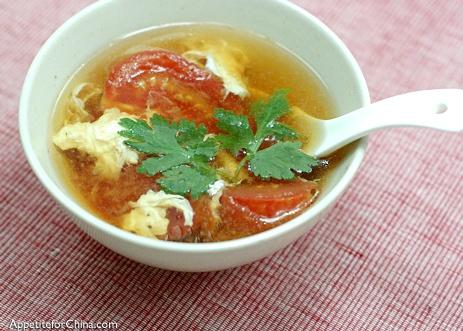 Tomato Egg Drop Soup. Eat with Scallion Pancakes.