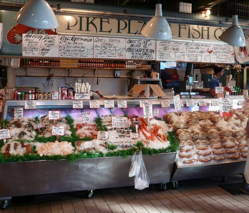 "Pike Place Fish Co, Pike Place Market, Seattle - home of the ""flying fish"" & the best fresh king crab around!"