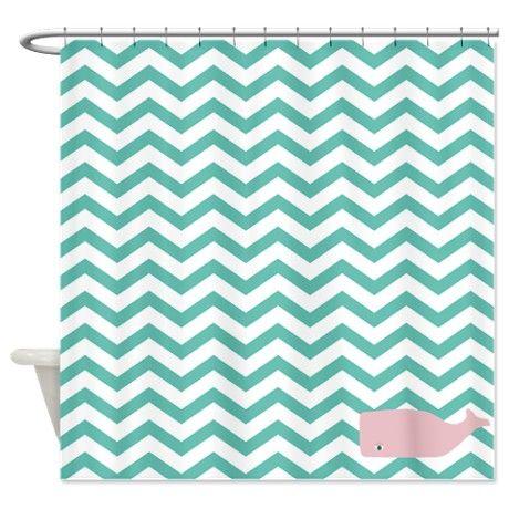 Aqua chevron pink whale shower curtain baby pinterest