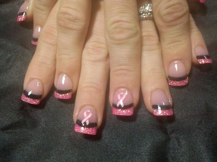 Nail Art Gallery - Breast Cancer Awareness or can change the color for any awareness