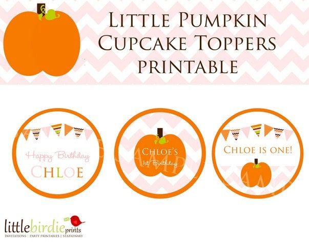 LITTLE PUMPKIN BIRTHDAY cupcake toppers with by littlebirdieprints, $ ...
