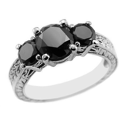 3 Carat Fancy Black Diamond Engagement Ring 3 Stone Design