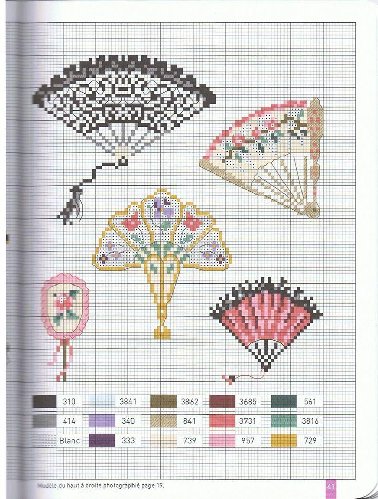 Схемы вышивки крестом вееров 208