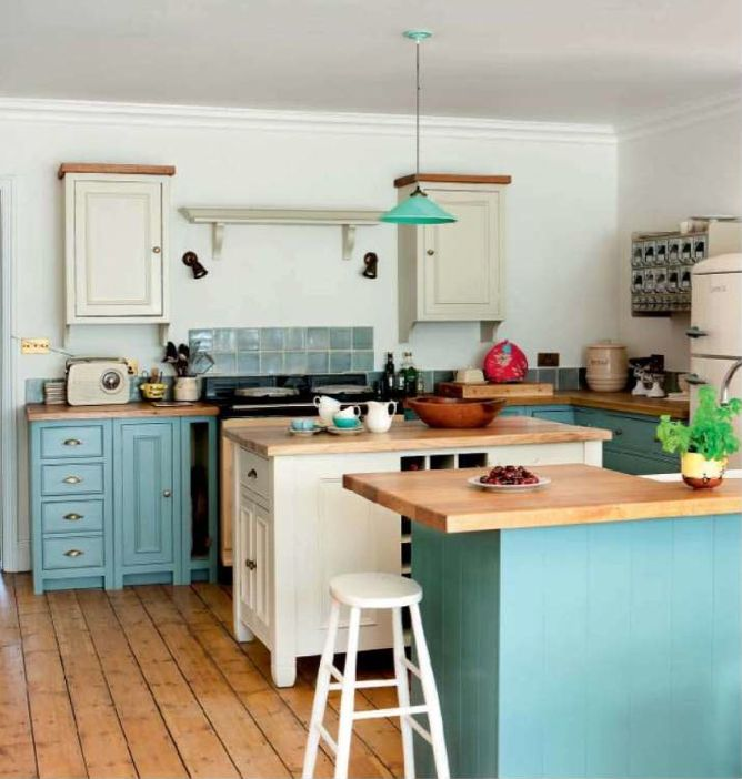 Turquoise and Cream Kitchen. I like all the wood... top of the ...