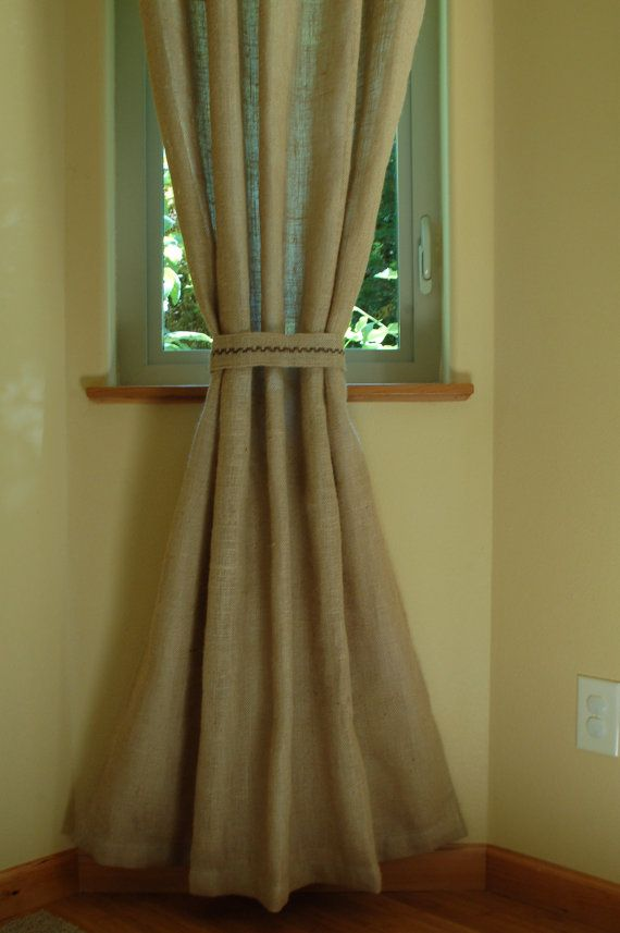 44 inches wide Lined Burlap Window Curtain Panel in natural / tan ...