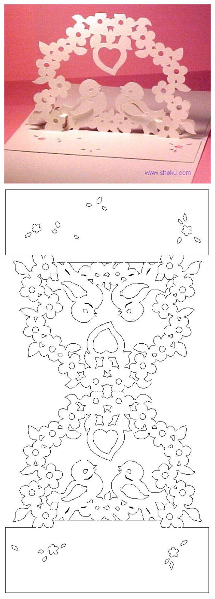 Открытки киригами для начинающих схемы и шаблоны 946