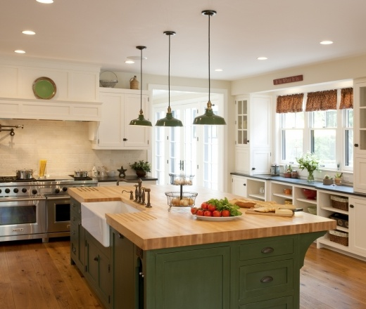 Transitional Island Style Cream kitchen, white cabinets, Crown Point ...