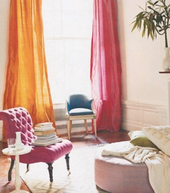 Pink and orange curtains | For the Home | Pinterest