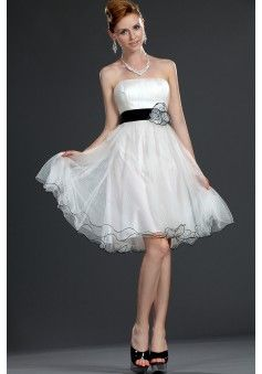 By carolyn carr a line strapless sleeveless knee length organza cheap
