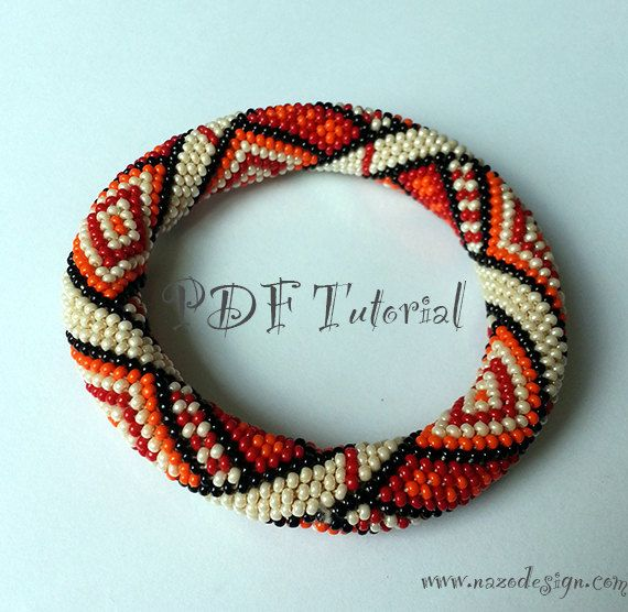 Crochet Patterns With Beads : Orange Rug - Crochet Bead Bracelet Pattern