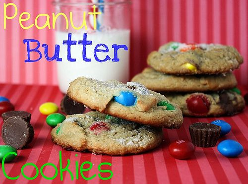 Triple Peanut Butter Cookies... Peanut butter cookies with tiny reeces ...