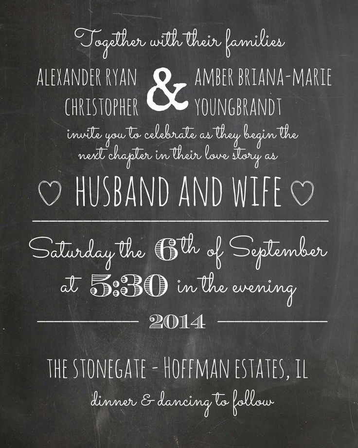 Make your own invites without looking tacky! I scored a free downloadable chalkboard background (5x7size) and added my own texts in PS. Also a super fun template to make just about any card with!  http://howtonestforless.com/2013/01/04/how-to-make-chalkboard-printables/