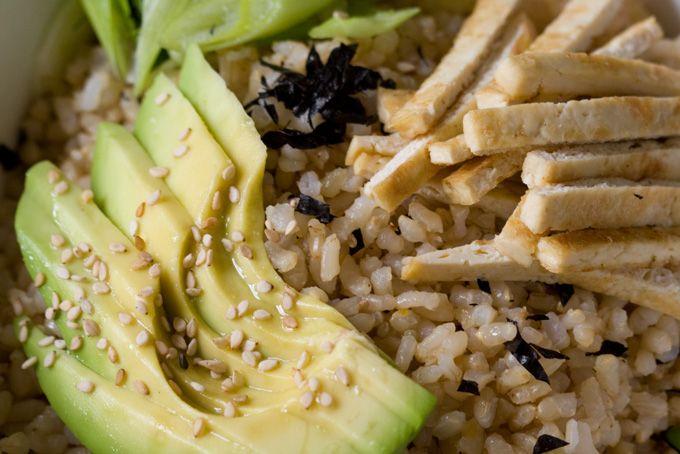de-constructed sushi roll - brown rice, tofu, avocado, toasted nori ...