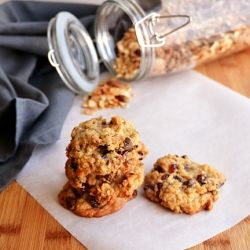 Granola cookies with nuts, dried cranberries, chocolate chips and ...
