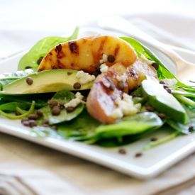 Grilled Peach Salad with Green Lentils, topped with gorgonzola cheese ...