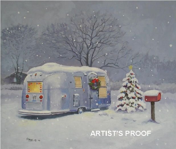 Airstreams in snow paige bridges glamping pinterest for Airstream christmas decoration