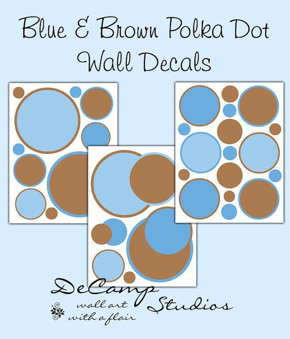 Polka dot wall decals blue brown baby boy nursery decor for Polka dot wall decals for kids rooms