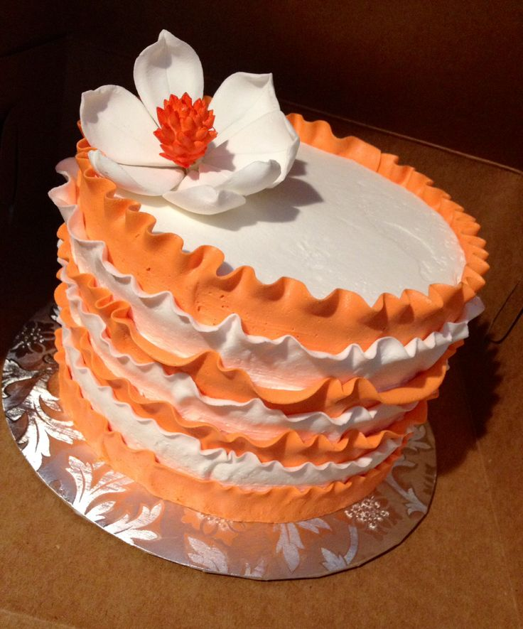 Orange and white striped ruffle cake Top tier for cupcake tower Orange ...