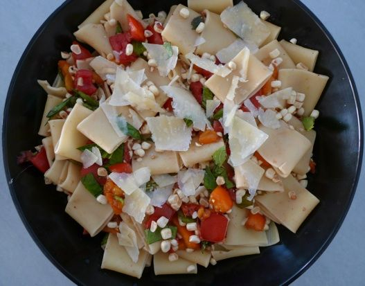 Pasta with corn, tomatoes and basil - I love her prep pictures too!