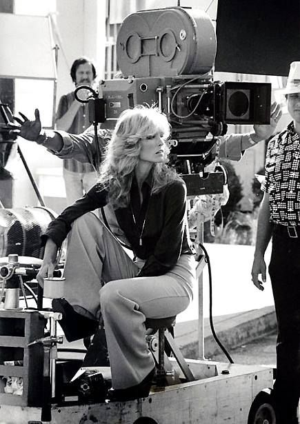 anotherstateofmind67: Farrah Fawcett on the set of Charlie's Angels.