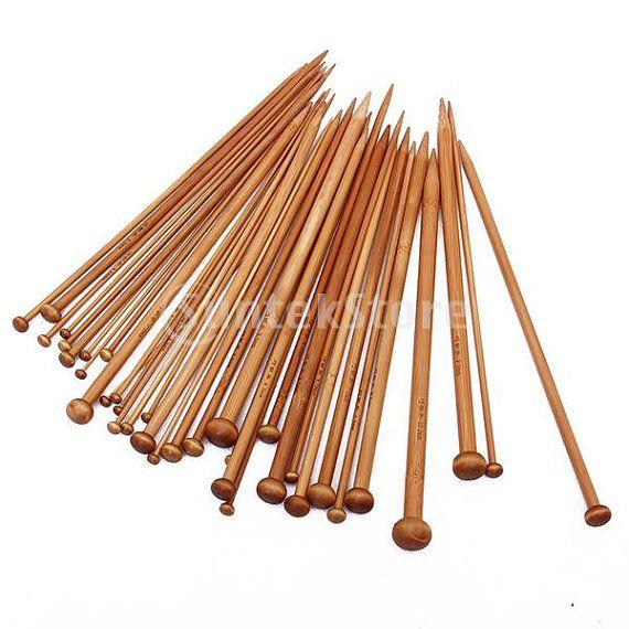 Bamboo Knitting Needles : 18 Sizes Carbonized Bamboo Knitting Needles Single Pointed Needles