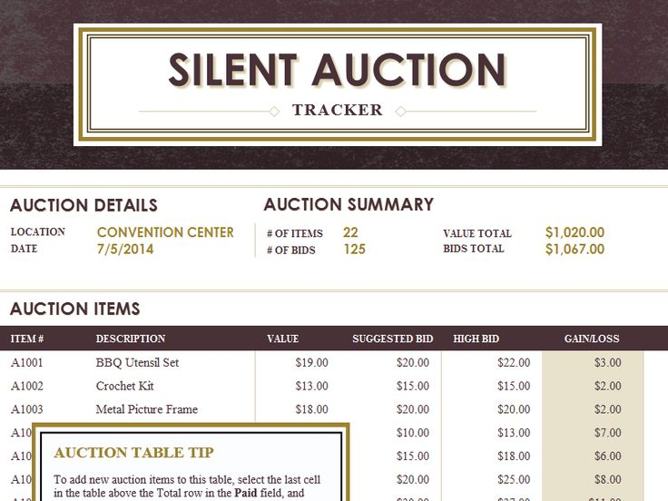 Silent auction tracker - Templates - Office.com
