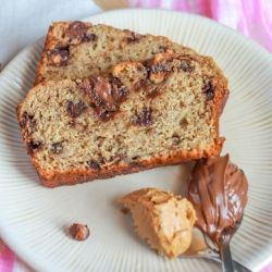 Nutella Swirled Peanut Butter Banana Bread with Reese's cups. The best ...