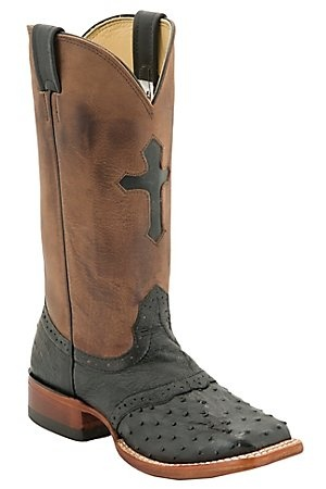 Larry Mahan Ladies Black Full Quill Ostrich w/Brown Top Cross Exotic Square Toe Boot