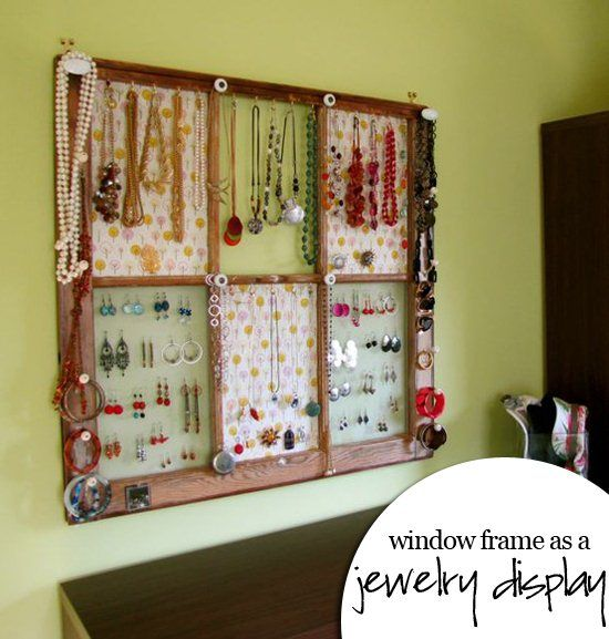 Jewelry holder DIY from repurposed window frame.