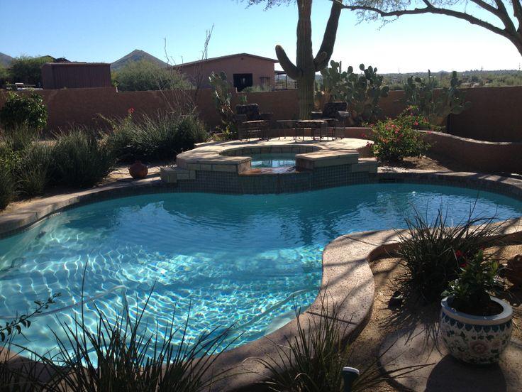 Arizona backyard pool residential landscapes pinterest for Garden pool in arizona