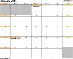2014 Calendar Templates | January 2014 calendar printable template