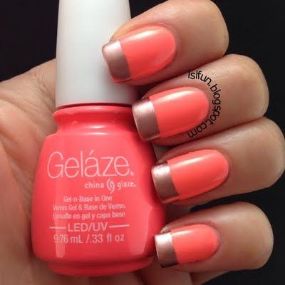 Coral Gold by Lsl L. Love these metallic french tips? Us too!