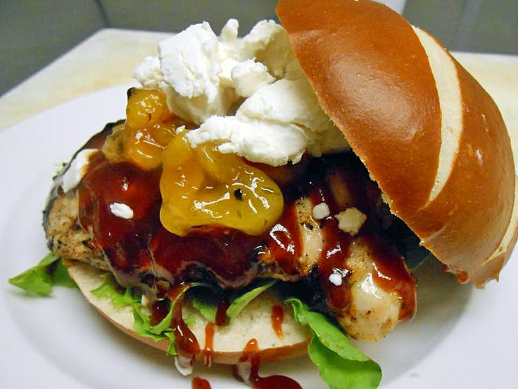 Grilled Chicken Sandwich with Apricot Chutney, Goat Cheese, BBQ Sauce ...