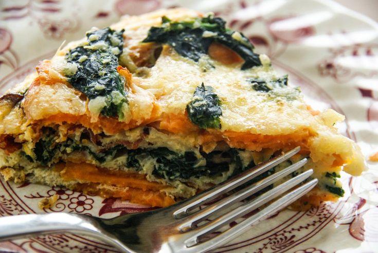 Sweet Potato Spinach Frittata - Looks amazing! I'd probably use feta ...