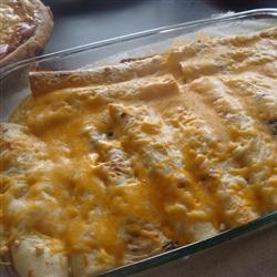 Brunch Enchiladas - made with tortillas, cheese and ham