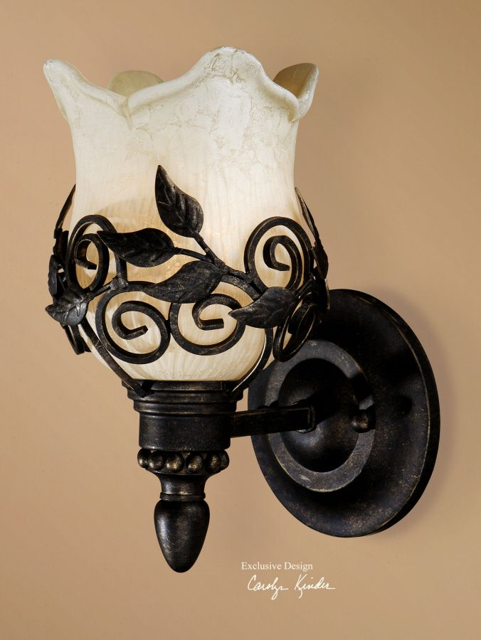 Toulouse, Wall Sconce - The charm of highly detailed, hand wrought iron and custom glass make this the right choice for those who appreciate fine workmanship.