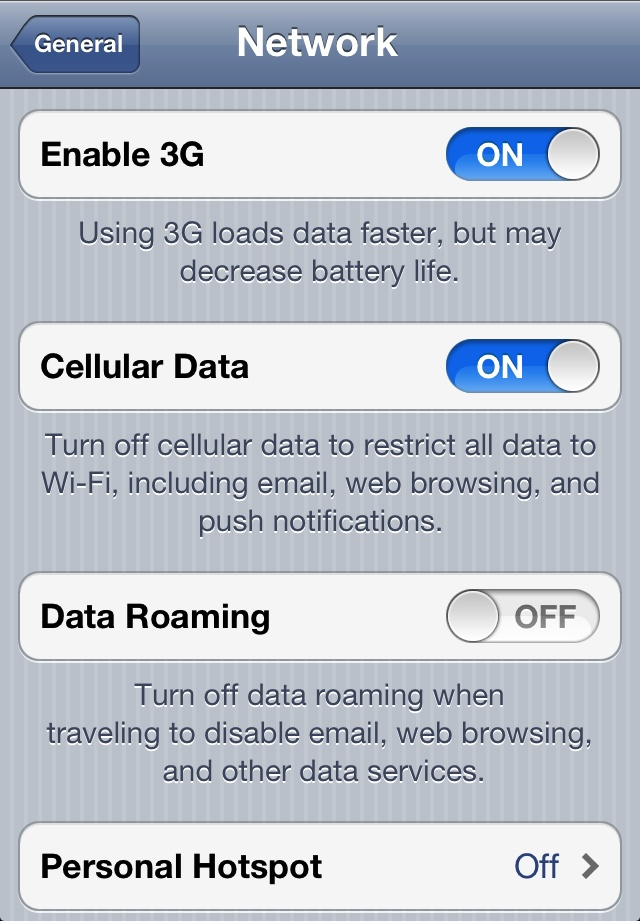 iphone check data usage text
