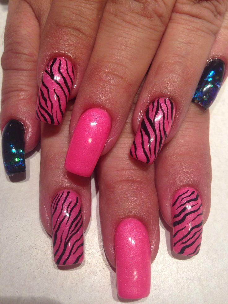black n pink zebra print nail art