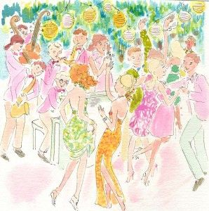 lilly pulitzer, watercolor, cocktail party